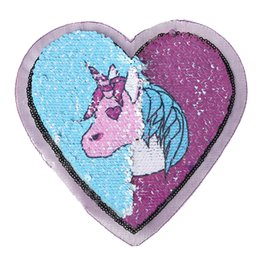 sequin crafts UK - Heart Unicorn Reversible Sequins Sew On Patch for clothes DIY Crafts Coat Sweater Embroidered Paillette Patch Applique 1PC