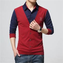 Fashion Design For Man Shirt NZ - Autumn Fashion Patch Design Men 'S Shirt T -Shirt Fake Two Long Sleeve Turn -Down Collar Cotton T Shirt For Men 5xl