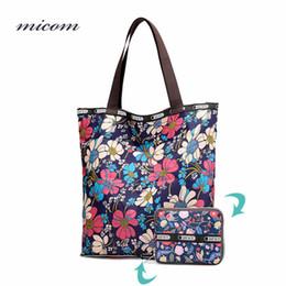$enCountryForm.capitalKeyWord Canada - Micom Fashion Floral Women Folding Shoulder Bag Large Capacity Tote Handbags Waterproof Foldable Shopping Bag Nylon with Zipper