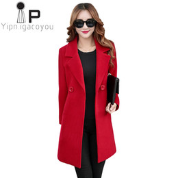 f67c8085de4 Winter Wool Coat Women Double Breasted Overcoat Women Autumn Long Wool  Jacket Blend Korean Plus size Black Elegant Ladies Coats