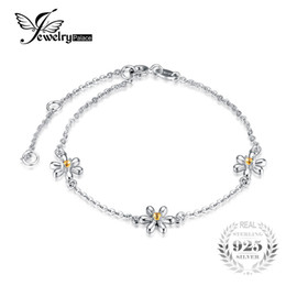 $enCountryForm.capitalKeyWord Australia - JewelryPalace Flowers Created Orange Sapphire Ankle Bracelet 925 Sterling Silver Romantic Jewelry Accessories best gift S18101507