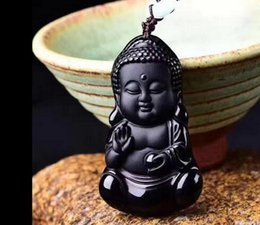 Carved Jade Red Pendants Australia - 100%natural Black Obsidian hand-carved Baby Buddha Lucky Pendant+ rope Necklace