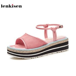 med hair 2018 - wholesale 2018 sweet style solid round toe horse hair ankle strap platform med heel shoes wedges summer preppy women san