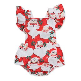 Santa Claus Girls Jumpsuit Australia - Xmas Baby girls Flying sleeve romper infant Santa Claus print Jumpsuits Christmas Boutique kids Climbing clothes C5483