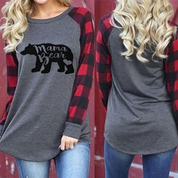 Wholesale t shirt mama for sale – custom Women letter print T Shirts Cotton Plaid Sleeve Tees Mama bear Printing Ladies Pullover Maternity Tops C3580