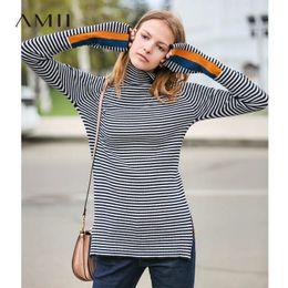 ba79e70aa12f5 Amii Minimalist Women 2018 Autumn Sweater Chic Stripes Contraste de alta  calidad del diseño original Color Female Pullovers Sweaters