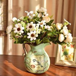 $enCountryForm.capitalKeyWord Australia - European Pastoral Vintage Painted Ceramic Vases American Village Livingroom Table Artificial Flower Pot Dried Flower Arrangement
