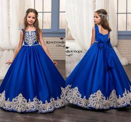 Glitz Pageant Kleider Royal Blue wenig für Mädchen Kleider 2018 Kleinkind Kinder Stock Länge Glitz Blumenmädchen Kleid für Hochzeiten Applikationen MC1626