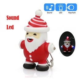 Electronic Novelty Gifts NZ - Novelty Light-Up LED Light Flashing Toys Christmas Man Cartoon Keychain With LED Light Sound Keyfob Children Kids Luminous Gifts kids toys