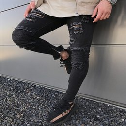 $enCountryForm.capitalKeyWord Canada - 2019 New Mens Skinny jeans Casual Slim Biker Jeans Denim Knee Hole hiphop Ripped Pants Washed High quality Free Shipping
