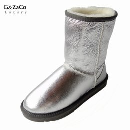 China G&Zaco Luxury Sheepskin Snow Boots Natural Wool Sheep Fur In One Boots Middle Calf Waterproof Winter Boots Women Flat Shoes supplier sheepskin boots wool suppliers