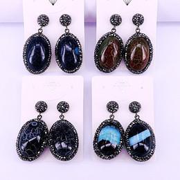 $enCountryForm.capitalKeyWord UK - 4Pairs Nature Stone Jewelry Dangle Earrings Black Zircon Rhinestone Paved Oval Earrings