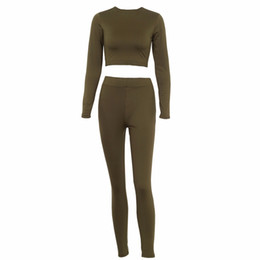 $enCountryForm.capitalKeyWord UK - Spring Women Two Piece Set Suit Long Sleeve Sexy Crop Top And Pants Elastic Leggings Workout Clothes Tracksuits Female