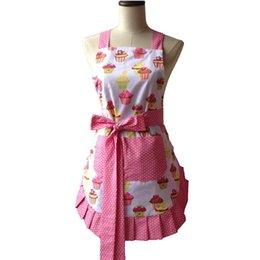 Wholesale Retro Kitchen Apron Woman Flirty White Apron Frosted Cupcake Striped Polka Dot Ruffled Salon Avental De Cozinha Divertido