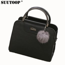 ladies handbags designer Canada - with suutoop women leather tote bag women fashion designer handbags high quality ladies bags vintage crossbody bags with fur ball