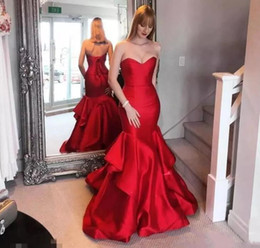 $enCountryForm.capitalKeyWord NZ - Sexy Red strapless Mermaid Evening Formal Dresses Sleeveless Back Lace Up Sweep Train Long Prom Gowns Summer 2019 Cocktail Party Gowns
