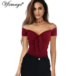 Barato T De Estiramento Grossista-Wholesale-Vfemage Mulheres Sexy Off Shoulder V-neck Bow Top Cotton Summer Girl Casual Praia Party Stretch Slim Fitted Tee T-Shirt 4959