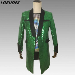 $enCountryForm.capitalKeyWord Australia - Green Sequins Formal Men's Suit Jacket Fashion Slim Long Coat Clubs Bar Singer Dancer Host Concert Show Stage Costume Outerwear