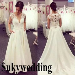 Simple Lace Wedding Dress V Neck NZ - Simple A line Wedding Dresses V Neck Lace Appliques Top Sleeveless Satin Long Wedding Gowns Garden Country Bridal Gowns Hot Sale