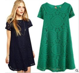 Kimono European Style Canada - Summer large size women's dress, European and American dress, loose short sleeves, hollowed out kaleidoscope style, lace, a skirt.