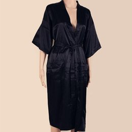 New Black Chinese Men Silk Rayon Robe Summer Casual Sleepwear V-Neck Kimono  Yukata Bathrobe Gown Size S M L XL XXL XXXL SM051 99f1bb3ff
