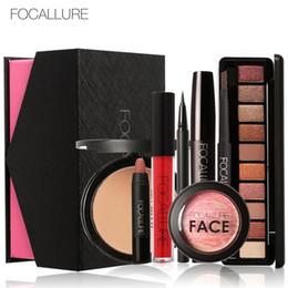 Discount used lipstick - Focallure Daily Use cosmetics 8pc set with Box Matte Lipstick Eyeshadow Lip Gloss Blush Mascara Eyeliner Face Powder GIT