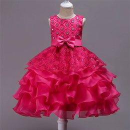 Discount korean kid white dress - 2019 kids clothes Korean version of the big children's ruffled dress skirt children's bow dress