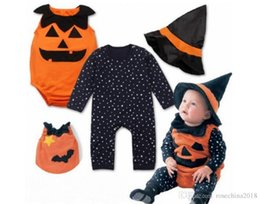 Pumpkin Suit Costumes Australia - New Pattern Children Halloween Performance clothes Cotton Baby Pumpkin Suit Hats 3 Piece Set Men And Women Children Uniforms