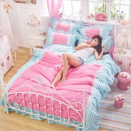 Discount princess print bedding set - 100% cotton family of four Korean countryside princess lace bed skirt bedding linen quilt Fitted sheets Bedclothes sets