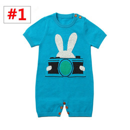 $enCountryForm.capitalKeyWord Australia - Baby Rabbit with camera print Jumpsuit INS Newborn Knitted short sleeve Romper Infant Spring Autumn overalls Sunsuits for 0-2T