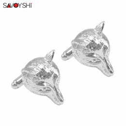 wholesale fox jewelry NZ - SAVOYSHI Novelty Silver Fox Cufflinks for Mens Cuff Nails High Quality Stainless Steel Animal Cuff Links Gift Brand Man Jewelry
