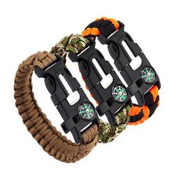 Bracelet tactique de survie en plein air avec corde de Paracord de boussole Whistle Flint Fire