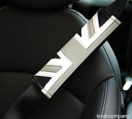 $enCountryForm.capitalKeyWord NZ - 2Pcs Grey England PU Leather Carbon Fiber Car Seat Belt Cushions Shoulder Pads