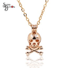 Gold Cage Pendant Australia - 2018 Trendy Skull shape Locket Cage Pendant Round Hollow Essential Oil Diffuser Locket Jewelry for Women DIY