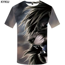 be7503fc9c04 KYKU Lion T shirt Animal Mens Clothing Anime Clothes Funny Tshirt Plus Size  Print Shirts Men Man Male High Quality Homme