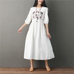 08af218bb9 2018 Vintage Cotton Linen Round Neck Ladies Outwear Black Pocket Dress  Casual Summer Women Large Size New White