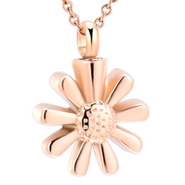 gold flower design pendant for necklace UK - IJD9595 Sunflower Cremation urn necklace Stainless steel Cremation Jewelry for Ashes Pendant necklace Charm design for women