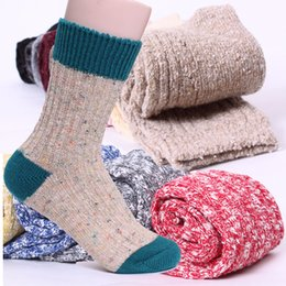 vintage red socks 2019 - 1 Pair Hot Vintage Men Winter Warm Knit Crochet Cotton Soft Thick Socks Thermal Crew Cashmere Causual Socks 5 Colors dis