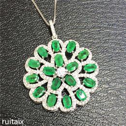 12dedc608658 KJJEAXCMY boutique joyas S925 plata pura natural esmeralda collar  incrustaciones joyería girasoles femeninos colgante de piedras preciosas