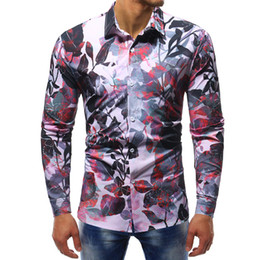 mens high collar t shirt NZ - high quality mens designer t shirts long sleeve casual Dress Shirts men clothes turn-down collar Print Slim men s clothing Social Shirts