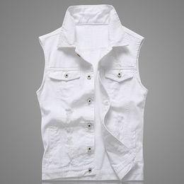 Punk vests for men online shopping - Hole Denim Waistcoat Men White Jeans Vest Solid Rock Vests For Men Fashions Summer Sleeveless Jacket xl Punk Biker Ripped