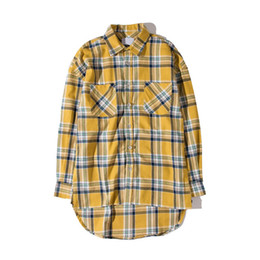hipster clothes UK - Flannel Plaid Shirt Men Hip-hop Shirt Streetwear Oversized Curved Hem Hipster Men's Shirt Long Sleeve Justin Bieber Clothing
