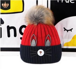 $enCountryForm.capitalKeyWord UK - Kids cat knitting wool hats childrens crystal venonat animal hats pointed candy multicolor caps 6 colors 174