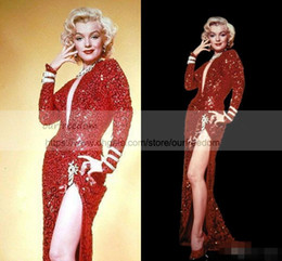 China 2018 Marilyn Monroe Vintage Sparkly burgundy Wine Red Sequin Split Mermaid Evening Dresses Hot Fashion Sexy V-neck Full length Prom Gowns cheap long evening peplum dresses back drape suppliers