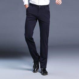 9786cd5cbf3 Business Mens Pants Smart Casual Formal Male Pants Solid Color Straight  Slim Fit Trousers Black Blue Pantalones Hombres