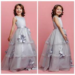 kids black floral dresses 2019 - Cute 2019 Princess Kids Flower Girls Dress With 3D Floral Applique Jewel Flower Girl Dresses Floor-Length Tulle Gown For