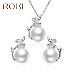 Pearl Bridal Jewellery Australia - ROXI 2018 Cute Crystal Simulated Pearls Jewelry Set for Women Silver Color Wedding Bridal Necklace Earrings Ladies Jewellery