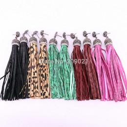 $enCountryForm.capitalKeyWord UK - New Arrival 5Pairs Bohemia multi colors snakeskin leather tassel pave rhinestone long dangle earrings