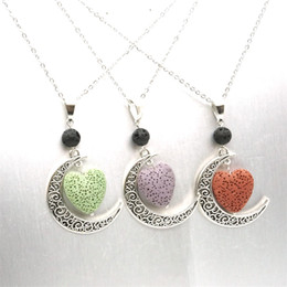 $enCountryForm.capitalKeyWord Australia - Heart Lava rock Bead volcano Necklace Aromatherapy Essential Oil Diffuser Necklaces Black Lava Pendant Stainless Chain Jewelry
