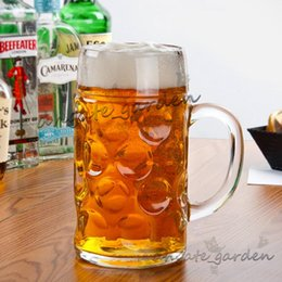 Stein Beer Glasses NZ - 1L Large Capacity Handle Glass German Bar Beer Mugs Barbecue Cups High Quality Transparent Oktoberfest Dedicated Cups